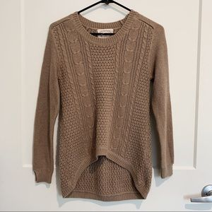 BROWN HIGH LOW KNIT SWEATER